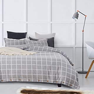 MUKKA 3 Pieces Heather Yarn Dyed Cotton Linen-Like Chambray Modern Simple Style Coconut Buttons Closure Duvet Cover Bedding Set Soft Luxuy Bed Linen (Grey Heather Check, Queen)
