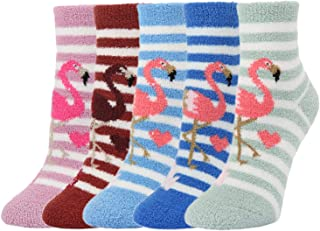 Cute Fuzzy Colorful Fluffy Warm Indoors Slipper Socks,...