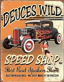 Desperate Enterprises Deuces Wild Speed Shop Tin Sign, 12.5