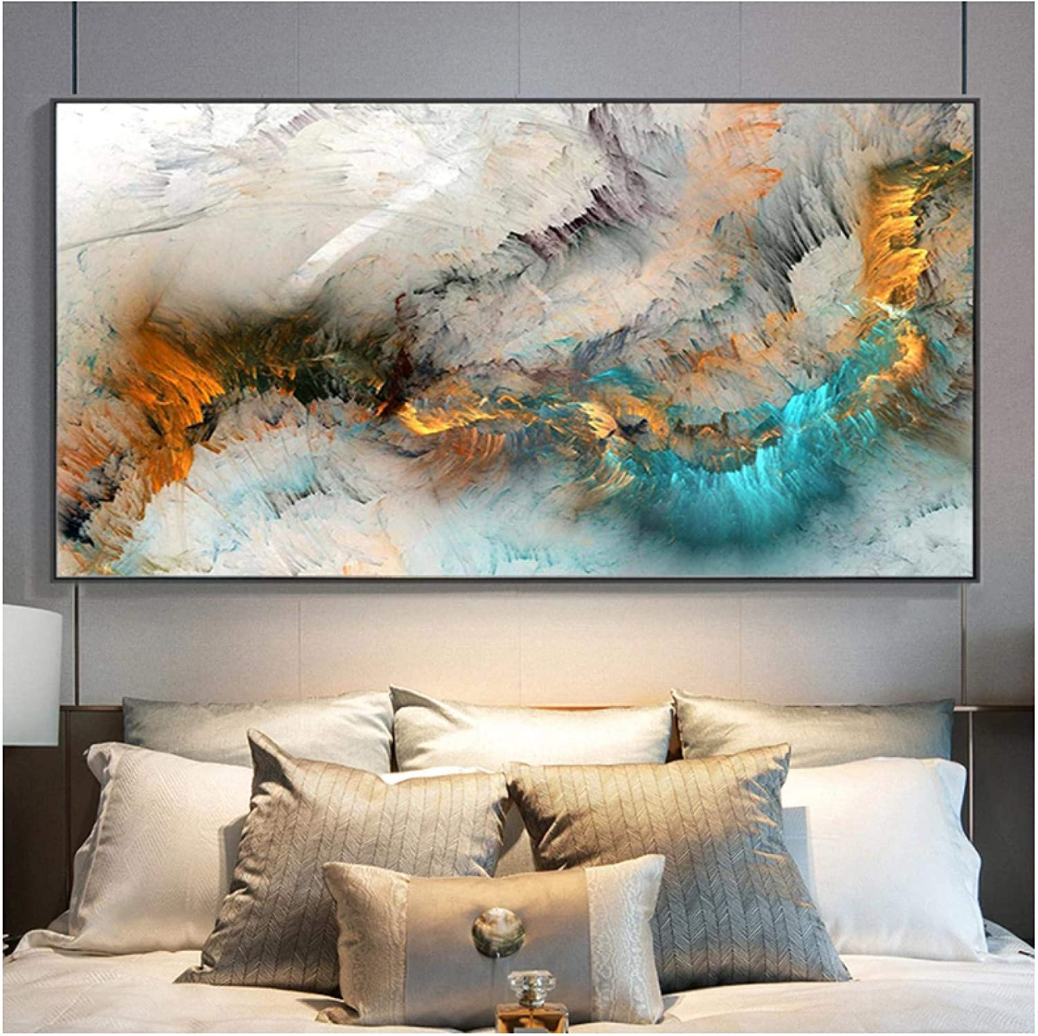 Print On Canvas Sales results No. 1 Gray Blue Yellow Painting Cloud Abstract OFFicial store