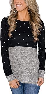 Women's Polka Dot Print Patchwork Long Sleeve Crew Neck T Shirt Casual Blouse Tops