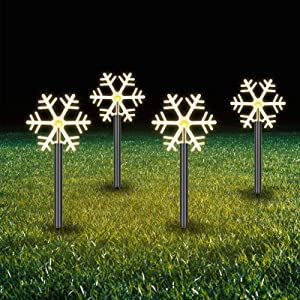 10 Pieces Solar Christmas Snowflake LED Pathway Lights Outdoor Landscape Lights Waterproof 3D Snow Decorations Garden Spotlights for Winter Christmas Party Lawn Wedding Festival