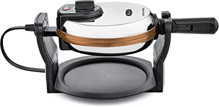BELLA Copper Titanium Coated Rotating Belgian Waffle Maker, Stainless 1000 Watt 14608