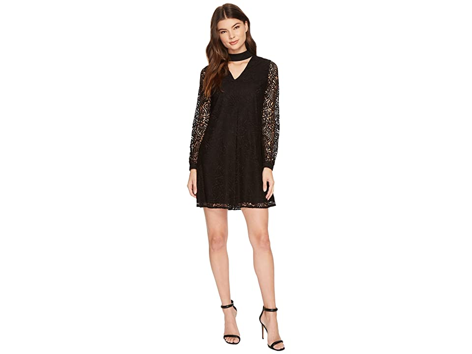 CeCe Paisley Lace Mock Choker Mini Dress (Rich Black) Women