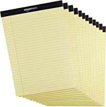 AmazonBasics Papel tamaño legal con renglones anchos, 50 hojas por bloc, amarillo, 21.6 cm x 29.8 cm