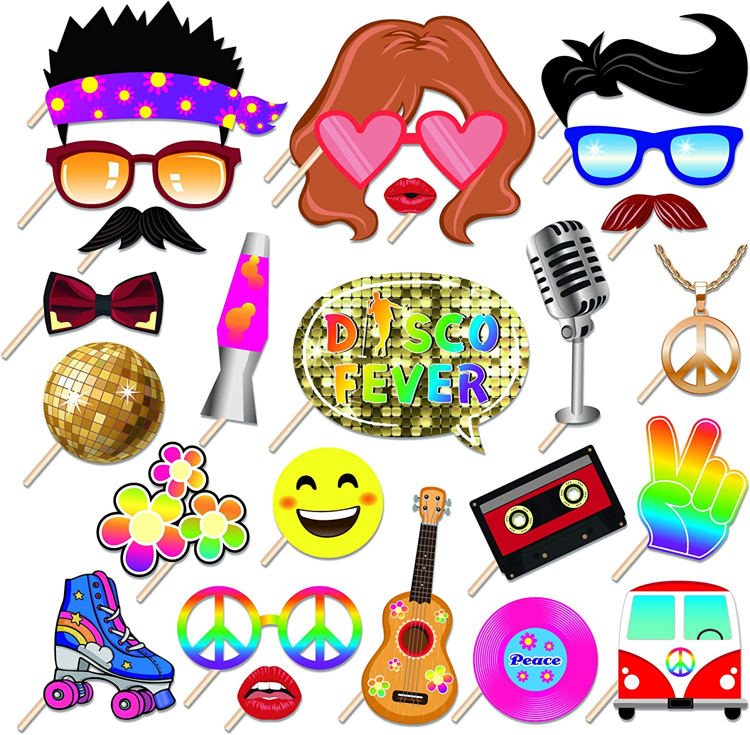 Amazon Com Kristin Paradise 25pcs Disco Photo Booth Props With Stick 50 S 60 S 70 S 80 S Theme Selfie Props Retro Birthday Party Supplies Hippie Photography Backdrop Decorations Home Kitchen