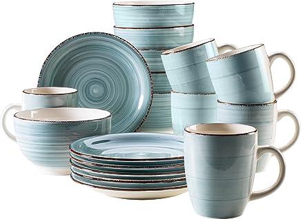 Preisvergleich für Mäser, Serie Bel Tempo, Frühstück-Set aus Steingut, 18-teilig für 6 Personen, Vintage Geschirr-Service, handbemalt, hellblau
