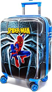 MOREFUN 19 Inch Kids Carry on Luggage Hard Side Shell Spinner Suitcase Rolling Wheels for Travel (blue spiderman)