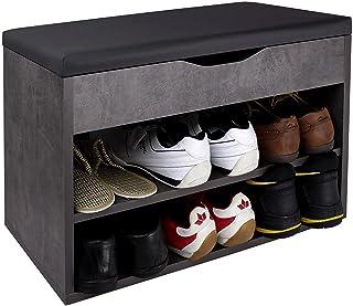 RICOO WM032-BG-A Banco Zapatero 60x42x30cm Armario Interior con Asiento Organizador Zapatos Mueble recibidor Percher...