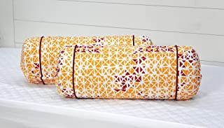 """AURAVE Cotton 144 TC Bolster Cover (15""""x30""""_Mustard)"""