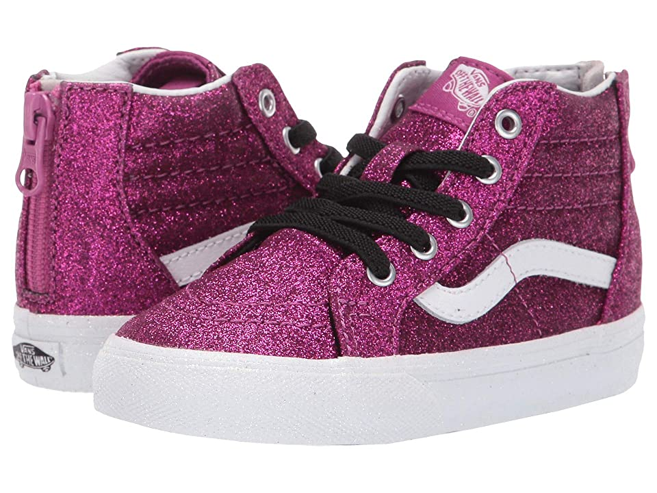 Vans Kids Sk8-Hi Zip (Infant/Toddler) ((Glitter) Wild Aster/True White) Girls Shoes