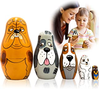 Sponsored Ad - Dog Nesting Dolls Set of 5 Pieces - Matryoshka Toy Dog Lover Gifts - Russian Wooden Nesting Dolls for Kids...