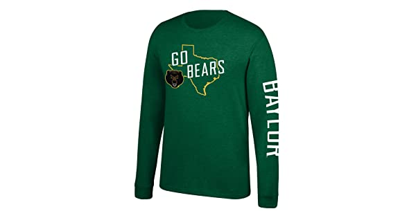 Small J America NCAA Mens Baylor Bears Classic Heather Long Sleeve Tee Forest Green