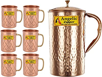 Angelic Copper Handmade Copper Jug with Designer Cup Set, Set of 6, Copper