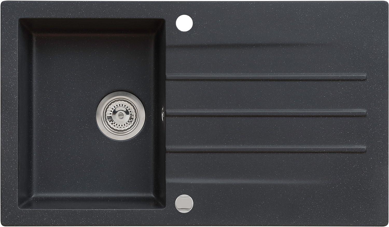 Axigran Granitspüle Mojito 100 Küchenspüle Einbauspüle Spülbecken Farbe Axis Schwarz 50er Siphon, Exzenterbedienung, 86x50 cm