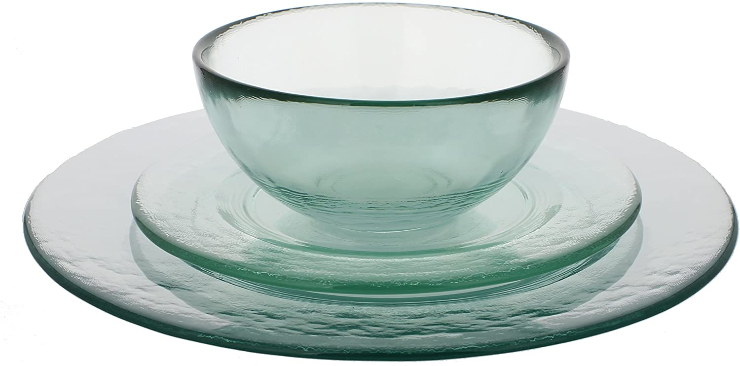 French Home Recycled Urban Glass Dinner Set, Clear
