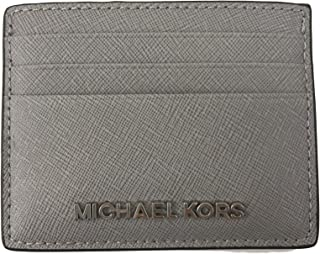 4b4247d9b3b2a0 Michael Kors Jet Set Travel Leather Credit Card Holder Case in Pearl Grey