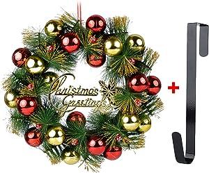 Coxeer Christmas Wreath, 16In Xmas Wreath Glittering Balls Hanging Ornament Door Decor Wreath with Hanging Hook for Christmas Party Decor