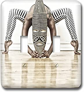 3D Rose LSP_219770_2 Yoga and Dance with African Wooden Mask with Zebra Design Double Toggle Switch