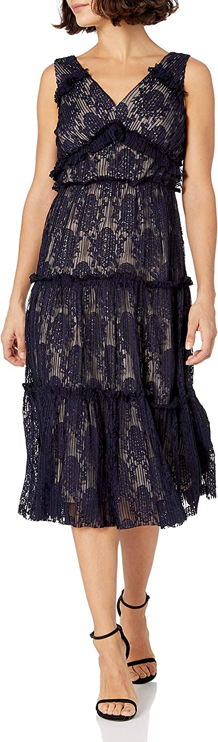Maggy London Women's Petite Pleat Lace Tiered Cocktail Dress