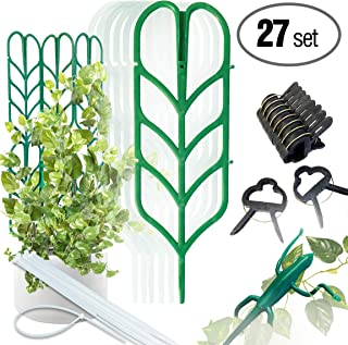 PeerBasics, Indoor Plant Trellis Bundle Pack, 6 Climbing Garden Leaf Shape Supports, 10 Large Flower Lever Loop Gripper Clips, 10 Zip Ties For DYI Climbing Stems Stalks Vines Vegetable Potted Garden