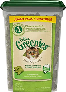 Greenies Feline Dental Cat Treats, Catnip, 11 Ounce, 4 Pack