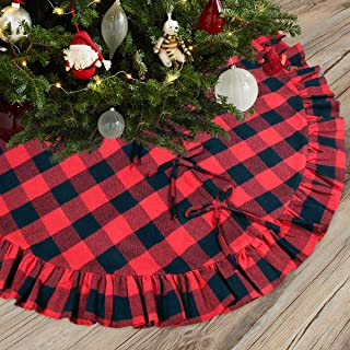 Townshine Checked Christmas Tree Skirt, 48 Inch Double Layers Red and Black Plaid Buffalo Deco for Holiday Party Tree Mat Xmas Ornaments- Size Fits All Trees