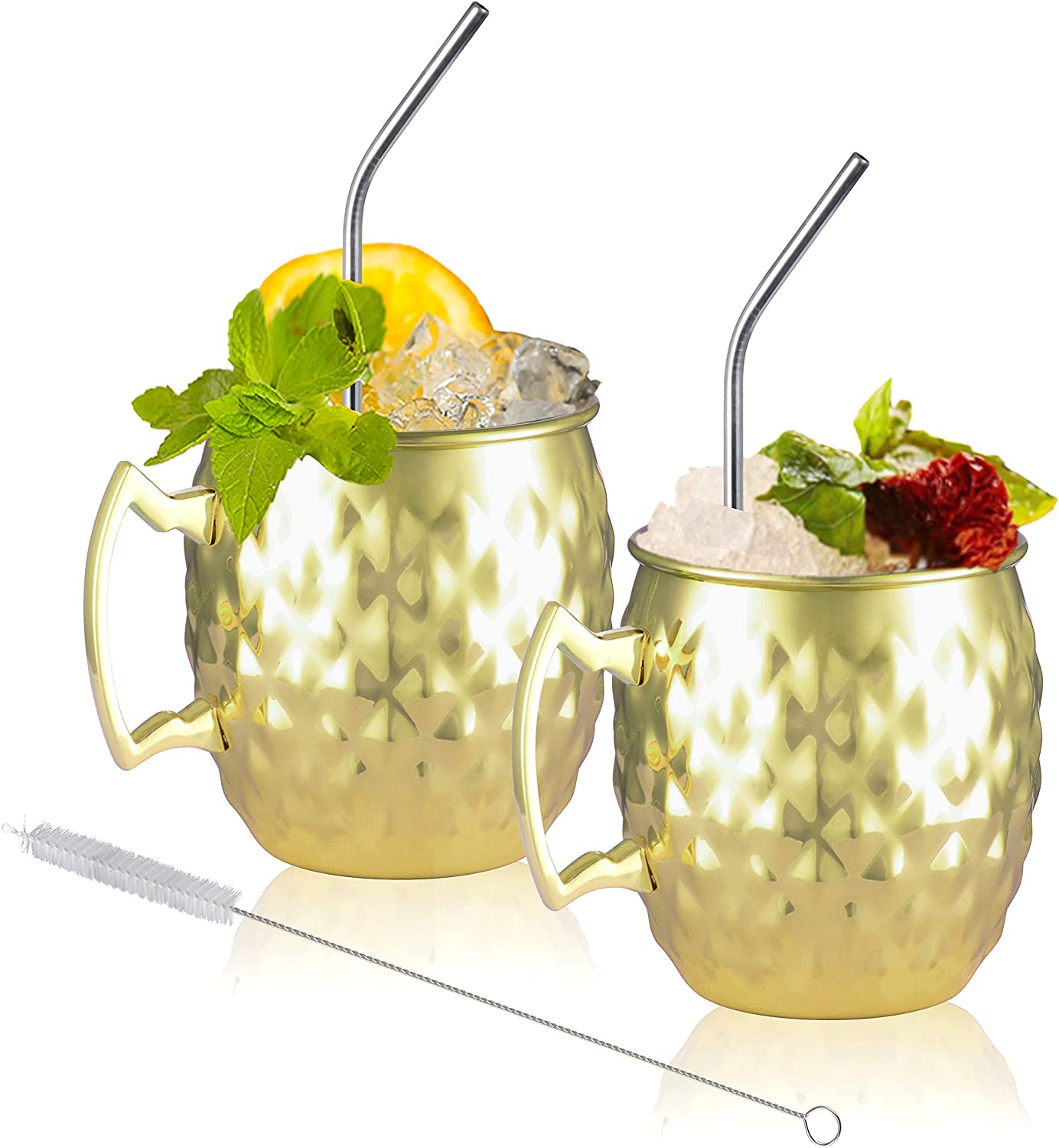 Moscow Mule Mugs Set of 2 Opening large release sale St Stainless Arlington Mall Hammered Golden Rhombus -