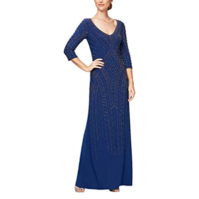 Alex Evenings Long Beaded Fit and Flare Dress With 3/4 Sleeve