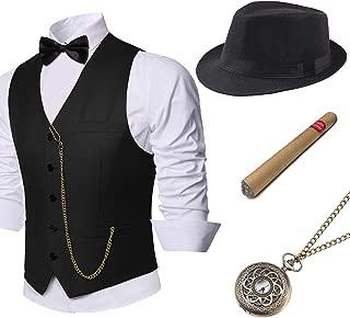 Coucoland 1920s Accessoires Herren Mafia Gatsby Kostüm Set inklusive Panama Gangster Hut Herren Weste Halsschleife Fliege Taschenuhr und Plastik Zigarre (Schwarz, S)