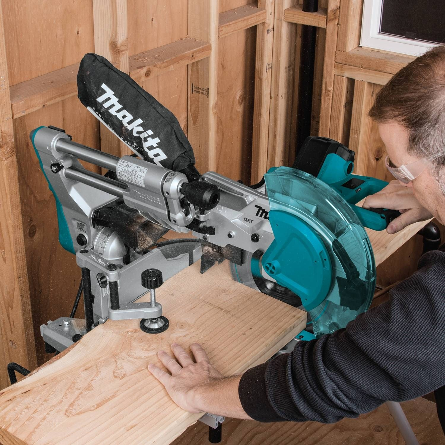 Makita Miter Saw with Hold Down Clamp