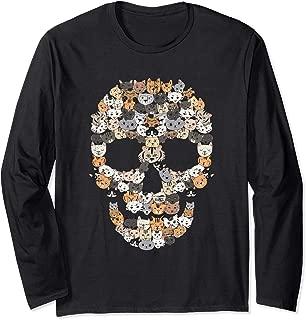 Kitten Skull - Creepy Feline Skeleton - Horror Cat Lover Long Sleeve T-Shirt