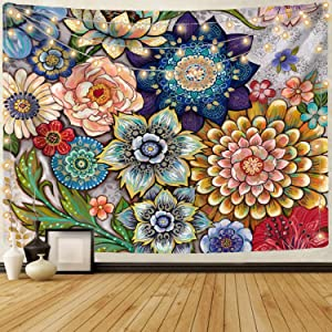 Neasow Colorful Floral Tapestry Wall hanging, Bright Boho Fabric Blossom Tapestries, Multi Color Tapestry for Bedroom Home Hippie Wall Decor 60×80 inch