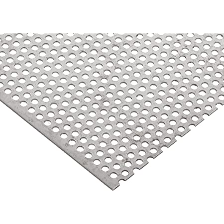 0.063 Thickness Staggered Round 0.1875 Holes 12 Width Mill 14 Gauge 0.25 Center to Center 36 Length Finish H14 Temper Unpolished 3003 Aluminum Perforated Sheet