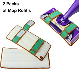 Reusable Mop Pads for Swiffer Wet Jet Refills, Machine Washable Refill Pads for Swiffer Wet Jet Pads, 100% Cotton Terry Cloth Mop Refill for Hardwood Floor, 2-Pack