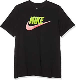 Nike Sportswear Brand Mark T-Shirt For Men - Black (Black/yellow Pulse/pink Gaze ) (Manufacturer Size:2X-Large)