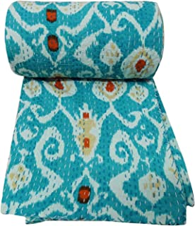 Traditional Indian Throw Ikat Print Kantha Quilt,ralli Throw Vintage Gudari Quilt, Handmade Turquoise Kantha Quilt ,Indian Vintage Bedding Quilt Reversible Cotton Bedspread Decor Art 60x90''