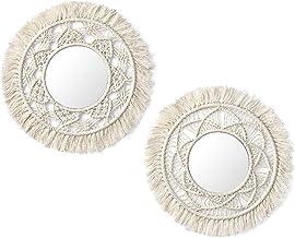 Mkono Hanging Wall Mirror with Macrame Fringe 2 Set Small Round Decoratic Boho Antique..