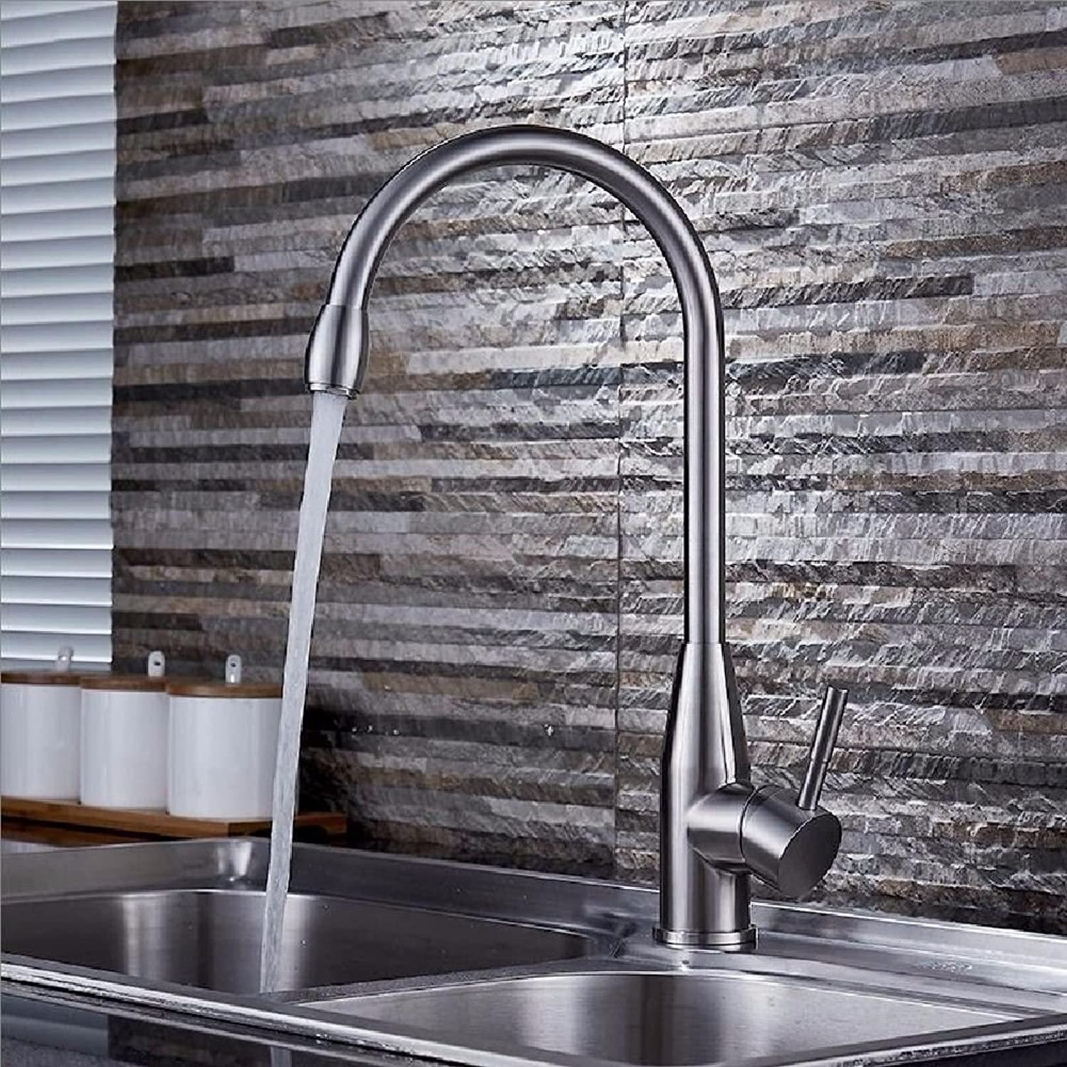 Lalaky Taps Faucet Kitchen Mixer Sink Waterfall Bathroom Mixer Basin Mixer Tap for Kitchen Bathroom and Washroom 304 Stainless Steel Hot and Cold redatable