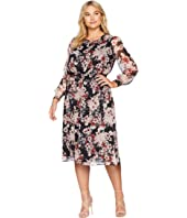 Plus Size Long Sleeve Timeless Blooms Cinch Waist Dress