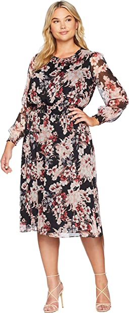 Plus Size Long Sleeve Timeless Blooms Cinch Waist Dress