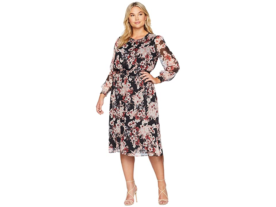 Vince Camuto Specialty Size Plus Size Long Sleeve Timeless Blooms Cinch Waist Dress (Rich Black) Women