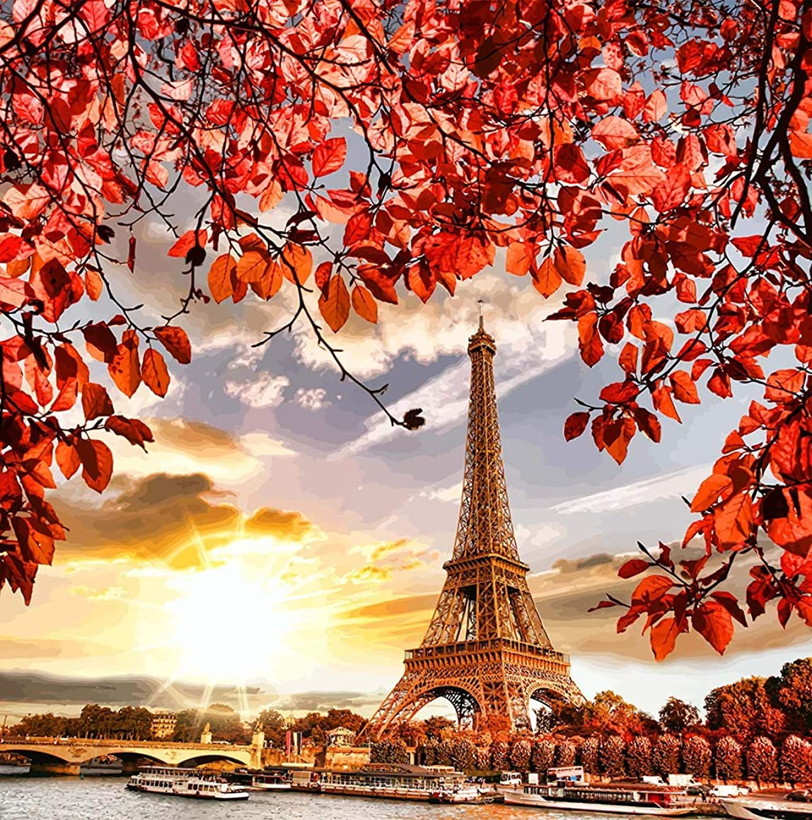 Diamond Painting Kits for Adults - DIY 5D Diamond Painting Full Drill Eiffel Tower - Great Bedroom, Living Room or Home Wall Decor (15.7 x15.7inch)