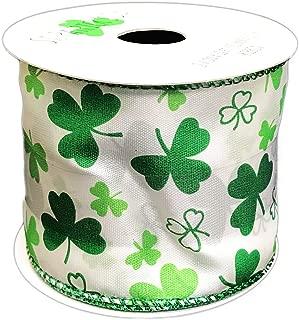 St. Patrick's Day Ribbon 2.5'' x 12' Green Shamrocks on White Wired Edge Happy St. Patrick's Day Crafting Gift Ribbon