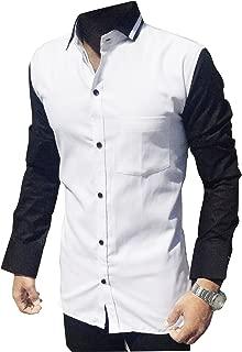 S.N. Men's Cotton Shirt (White Black)