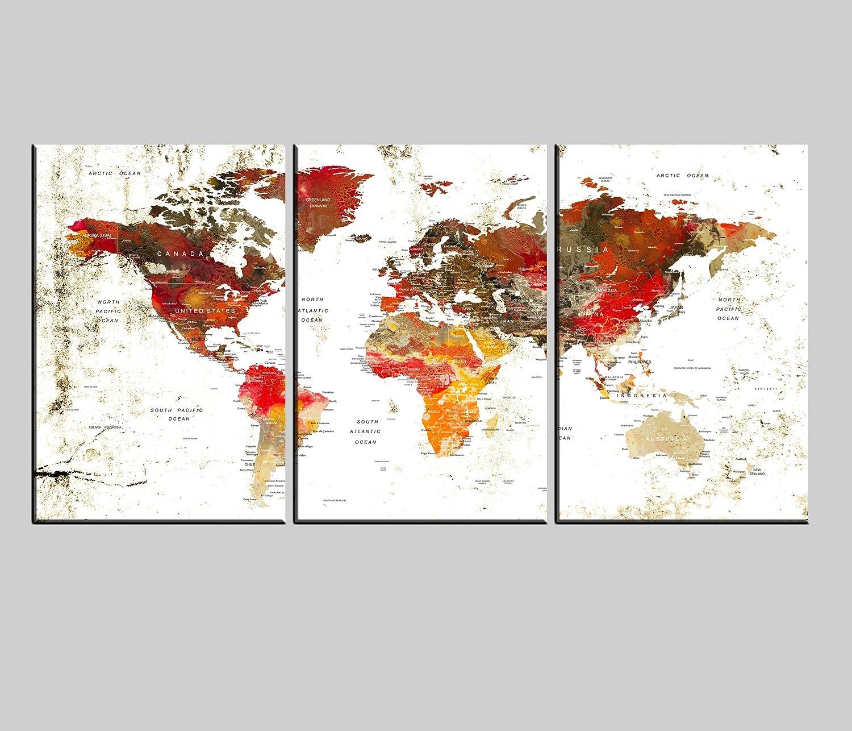 World Map Award-winning store Canvas shipfree Print W Art Large