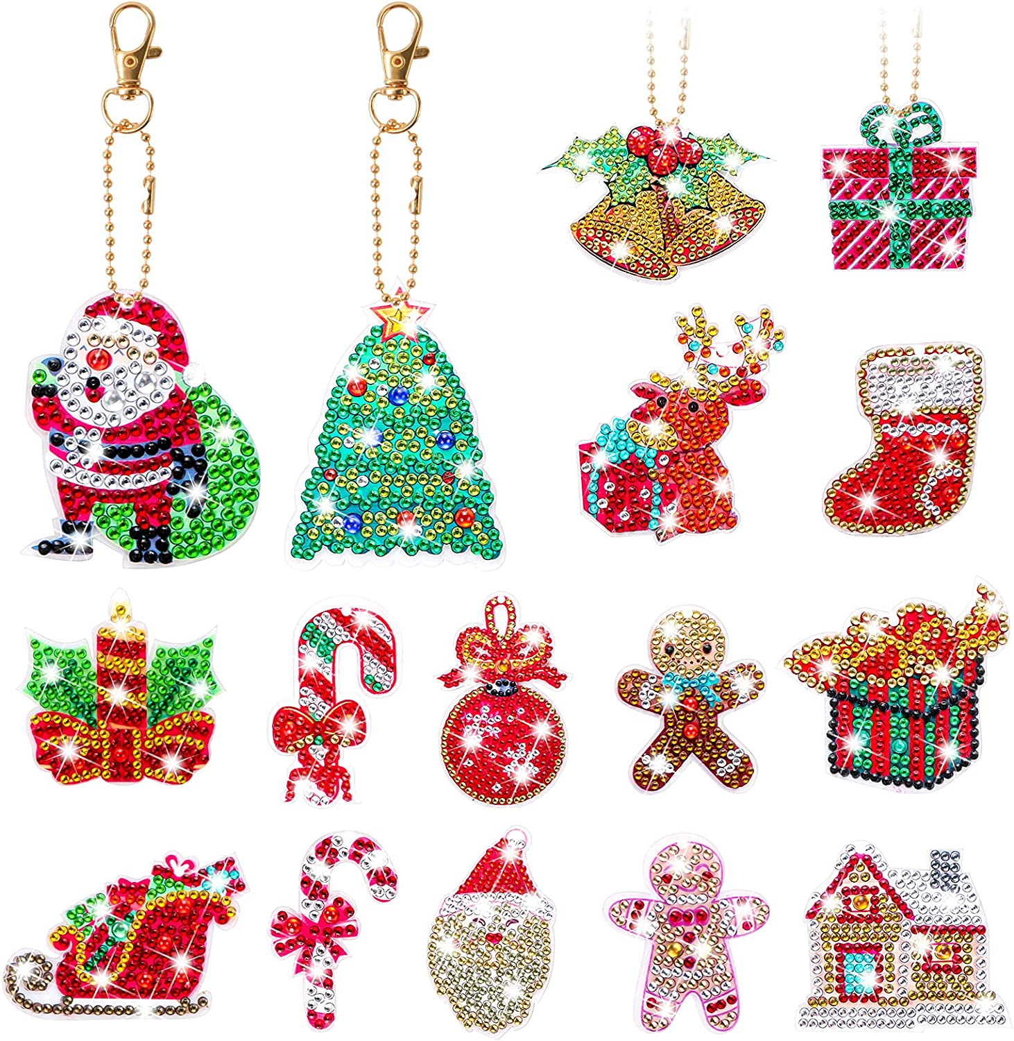 MEIEST 16 PCS Free shipping anywhere in the nation Christmas trust Gem Diamond Key for Chains Painting Kit
