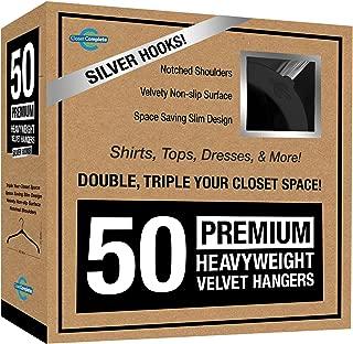 Closet Complete Premium Quality, True-Heavyweight, Virtually-UNBREAKABLE Velvet Hangers, Ultra-Thin, Space Saving, No Slip, Best for SHIRT, DRESS, LINGERIE, 360° SPIN, Chrome Hooks, Black, Set of 50