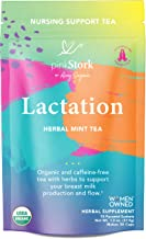 Pink Stork Lactation Tea: Herbal Mint Nursing Tea, USDA Organic, Improve Breast Milk Supply + Fenugreek, Formulated for Breastfeeding Mothers + Baby, Women-Owned, 30 Cups