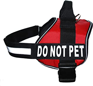 DO NOT PET Dog Vest Harness with Removable Patches and Reflective Trim. Comes with 2 DO NOT PET Reflective Removable Patch...